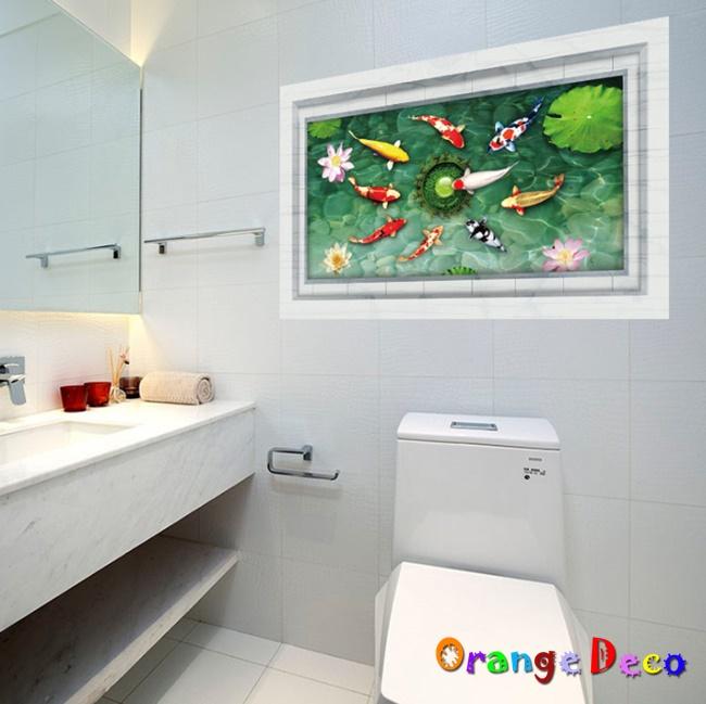 【橘果設計】鯉魚戲水 DIY組合壁貼 牆貼 壁紙 無痕壁貼 室內設計 裝潢 裝飾佈置