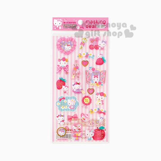 〔小禮堂〕Hello Kitty 日製貼紙《透明.條紋.點心.蘋果.草莓.櫻桃》多種圖案