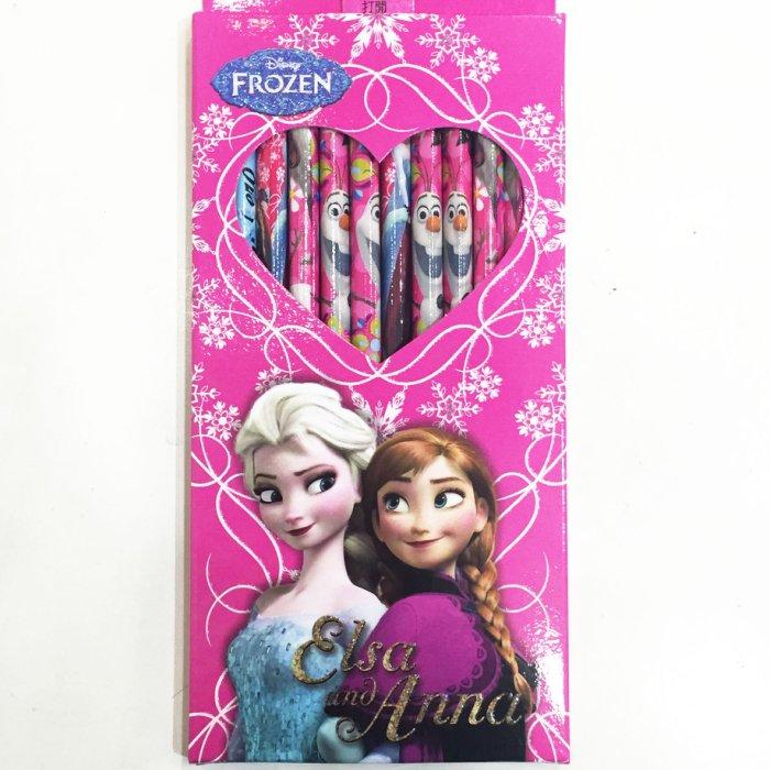 冰雪奇緣 艾莎 ELSA 安娜 ANNA 木頭 鉛筆 盒裝 三角 12入 文具 正版日本授權 * JustGirl *
