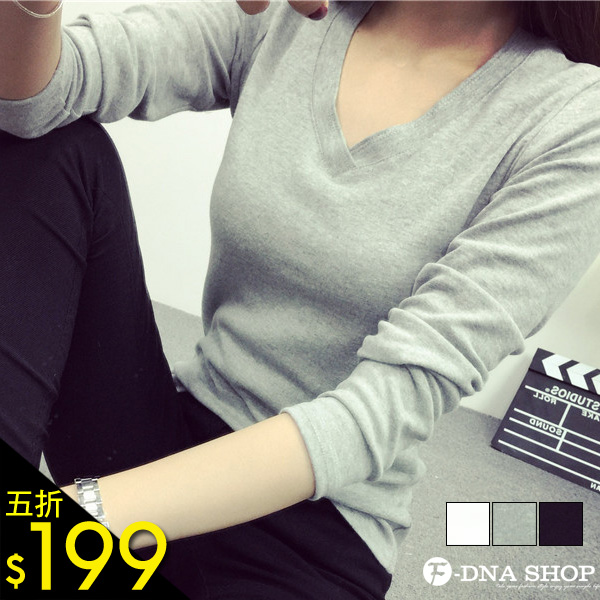F-DNA★交疊V領素色長袖上衣T恤(3色-M-XL)【ESG1310】