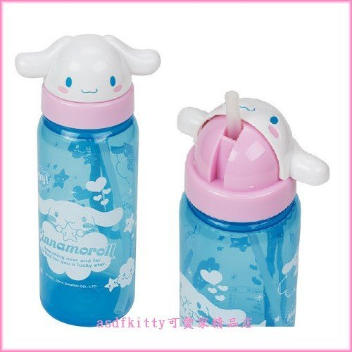 asdfkitty可愛家☆大耳狗大臉造型吸管水壺500ML-可當學習杯-幼兒園好用歐-日本正版商品