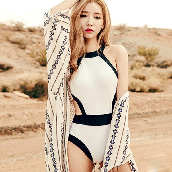 PS Mall 韓版撞色性感鏤空連身式泳裝【ET531】遮肚 泳衣 溫泉 沙灘 BIKINI