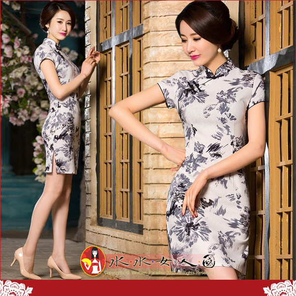 【水水女人國】~夏日特價550元~清流。復古亞麻花布改良式時尚短旗袍