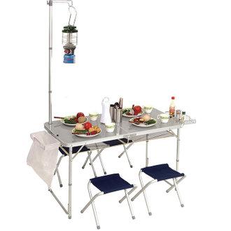 ★整點特賣★PINUS 鋁合金折疊桌椅 (附燈架 / 4張椅 / 置物網)|戶外|露營 P13710