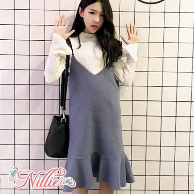 Nillie‧時尚V領吊帶魚尾裙11/29(藍)【N89142】