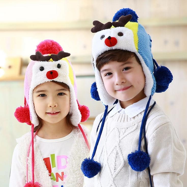 WallFree窩自在★秋冬保暖時尚可愛麋鹿造型毛球麻花辮兒童毛絨帽