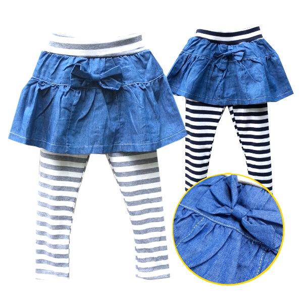 【班比納精品童裝】彈力牛仔條紋拼接裙褲-灰/海軍藍-兩色可選【BO150807034/BO150807035】