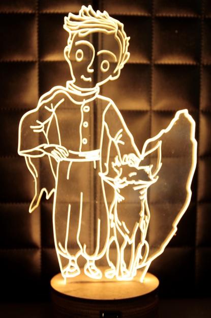 LED 造型 3D立體燈 小王子造型 可變換3種燈色 高雅白色 半木質底座 質感佳 小夜燈 氣氛燈 生日禮物 聖誕禮物