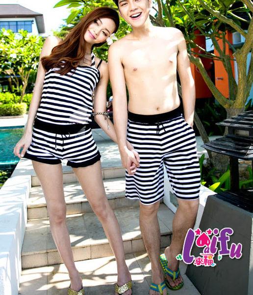 ★草魚妹★A02加大泳衣黑白條紋褲裝情侶泳衣游泳衣泳裝比基尼,單女生售價950元