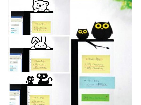 BO雜貨【SV6138】創意文具 可愛卡通電腦側邊留言板 螢幕便利貼 備忘便利貼板