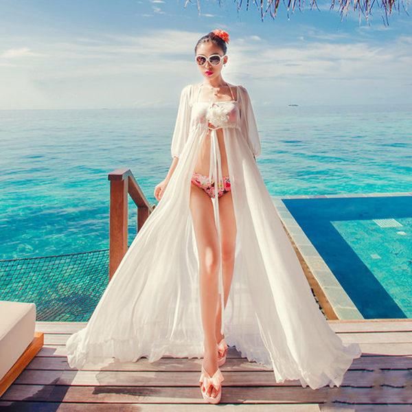PS Mall 度假性感雪紡綁帶連身裙 沙灘裙 比基尼防曬罩衫【T937】