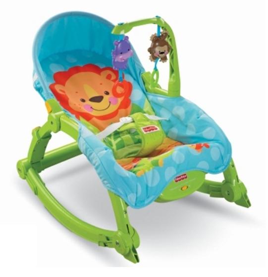 費雪 Fisher-Price 可愛動物可攜式兩用安撫躺椅/搖椅