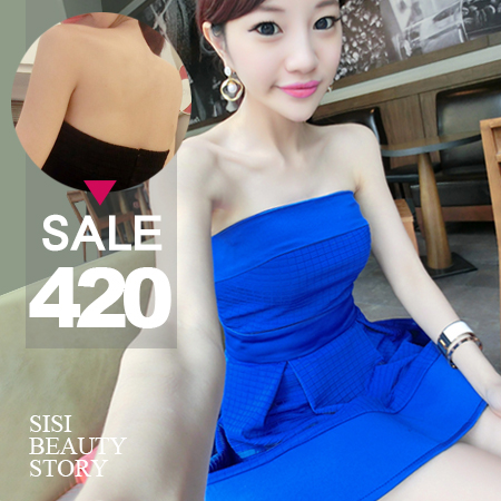 SISI【D4134】高貴簡約立體格紋縮腰蓬蓬裙下擺平口洋裝性感修身顯瘦傘擺連身裙小禮服