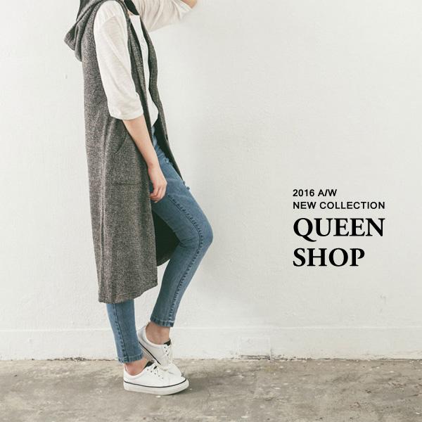 Queen Shop【01093945】花紗連帽開襟長版背心外套*現貨+預購*