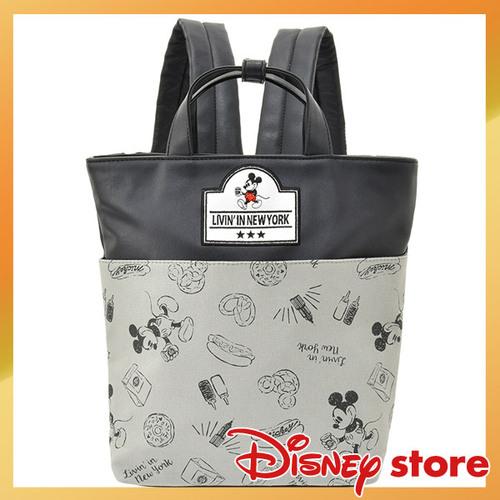 【真愛日本】FASHION-NYNY系列皮革手提後背包-米奇灰    迪士尼 米老鼠米奇 米妮   背包  包包