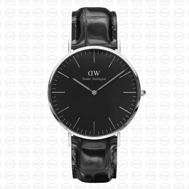 40MM 0135DW 黑錶面 黑鱷魚錶帶 瑞典正品代購 Daniel Wellington 男錶手錶腕錶