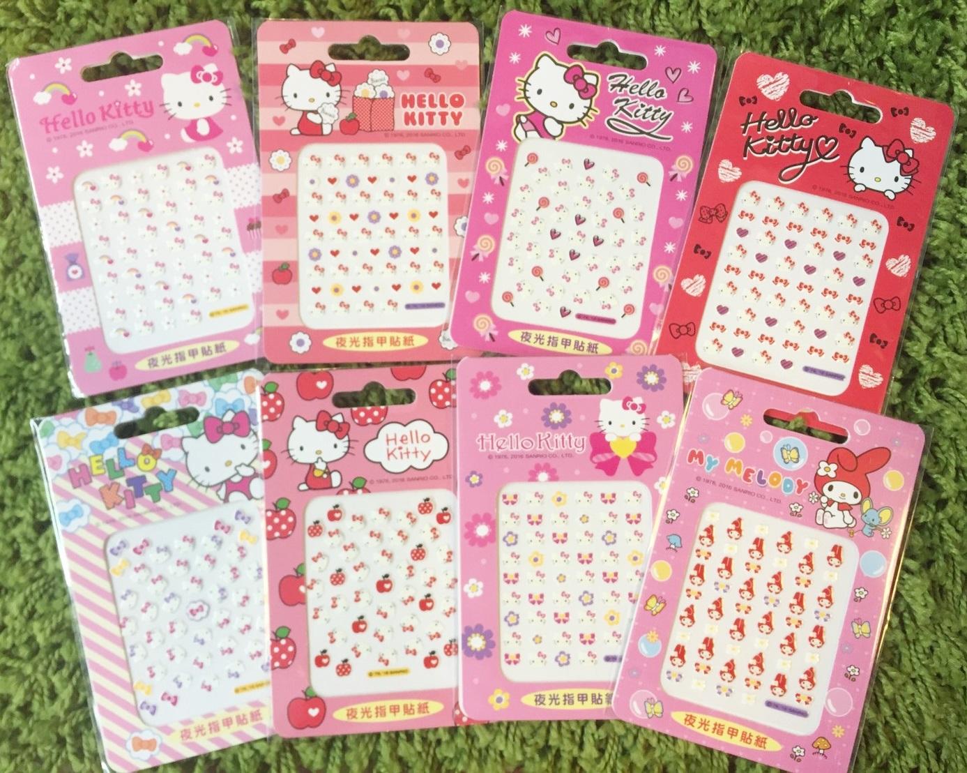 【真愛日本】10122000001 二代夜光指甲貼-多款(2入) 三麗鷗 Hello Kitty 凱蒂貓 美甲貼 造型貼 正品