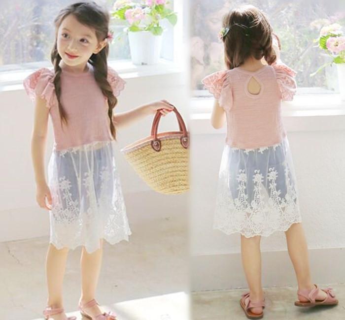 【貝貝樂SHOW】下殺價!甜美大荷葉袖完美拼接蕾絲長洋裝裙~粉色、白色~正韓pinkideal~