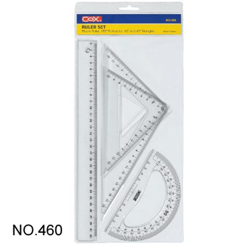 【三燕 COX 三角板組】460塑膠30cm尺組/三角尺/量角器(三角板/直尺/半圓)