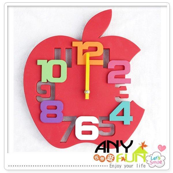 任你逛☆創意蘋果掛鐘 造型蘋果時/壁鐘 3D立體彩色數字藝術鐘 可愛蘋果靜音鐘anyfun【O1031】