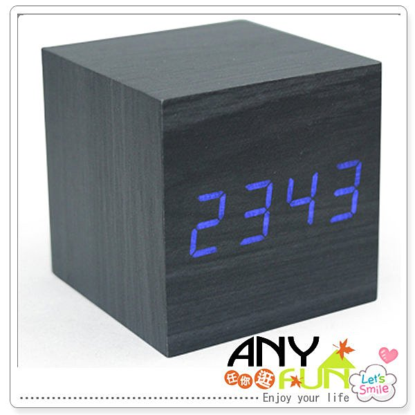 任你逛☆ 超質感創意木頭鐘 LED溫度顯示木頭電子鬧鐘 聲控 省電模式 anyfun【O3011】