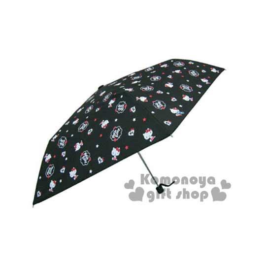 〔小禮堂〕Hello Kitty 三折雨陽傘《黑.側坐指下巴.滿版》折傘方便攜帶