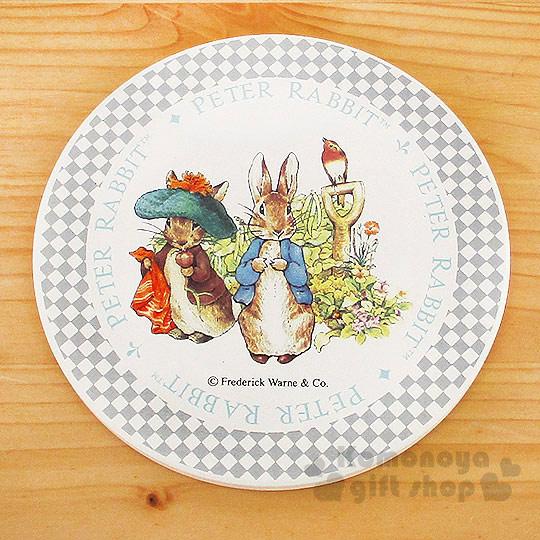 〔小禮堂〕彼得兔 陶土藝術杯墊《米白.站姿.2隻兔子.小鳥》英式鄉村風情