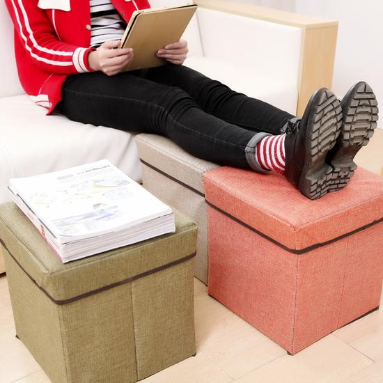 ♚MY COLOR♚亞麻收納沙發凳 摺疊 儲物 換鞋 居家 雜誌 玩具 客廳 座椅 書籍 臥室 衣物【L178】