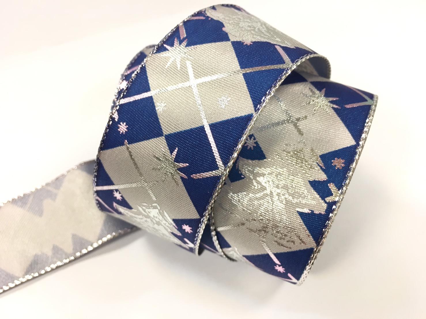 星菱紋聖誕鐵絲緞帶 38mm 3碼裝 (2色)
