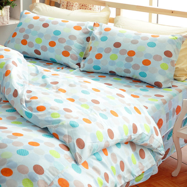彩色圓點 雙人五件式兩用被床罩組/ 哇哇購