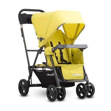 【淘氣寶寶】2016年 新款 美國 Joovy Caboose Ultralight Graphite 新款輕量級雙人推車/兄弟車【新款黃色】【公司貨/保固2年】
