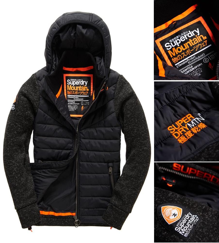 男款 Superdry 極度乾燥 2016最新款 Storm Hybrid拉鍊連帽外套 羽絨 背心 針織 外套 防風 砂礫黑