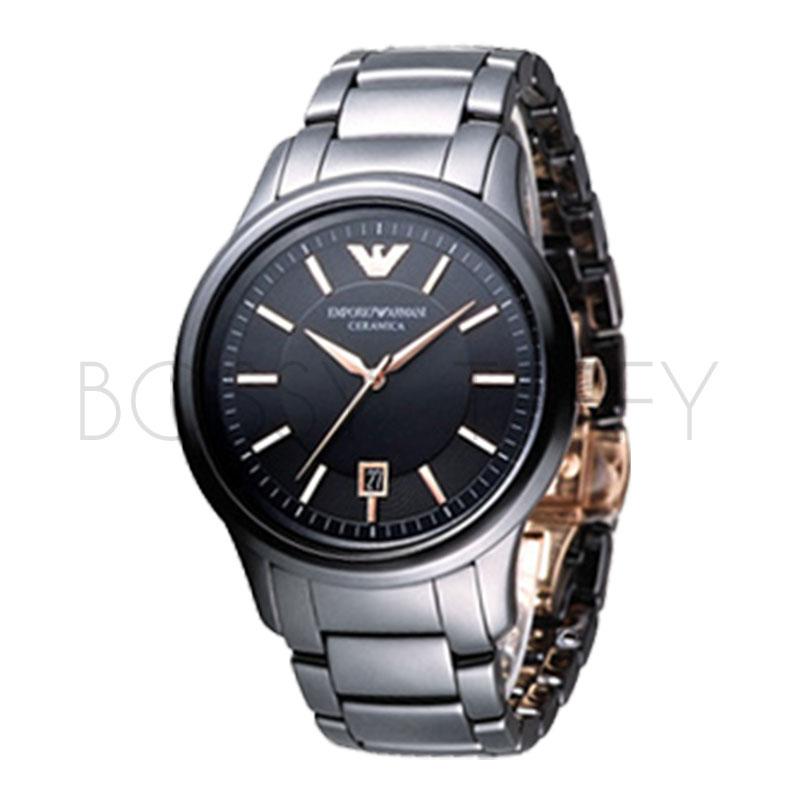 AR1466 ARMANI 亞曼尼 經典紳士黑色陶瓷錶 男錶