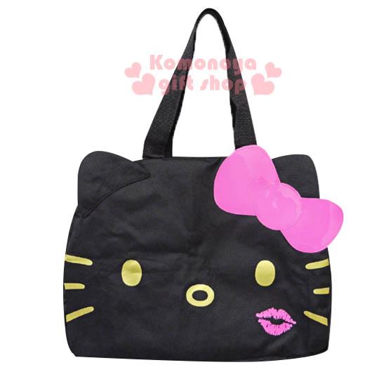 〔小禮堂〕Hello Kitty 可折疊旅行袋《L.黑.大臉.粉紅唇印》可掛於行李箱桿上