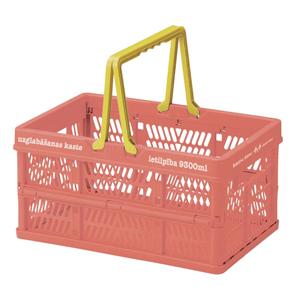 日本Everyday 「露營雜貨」小型伸縮摺疊收納籃-橘紅「新品」