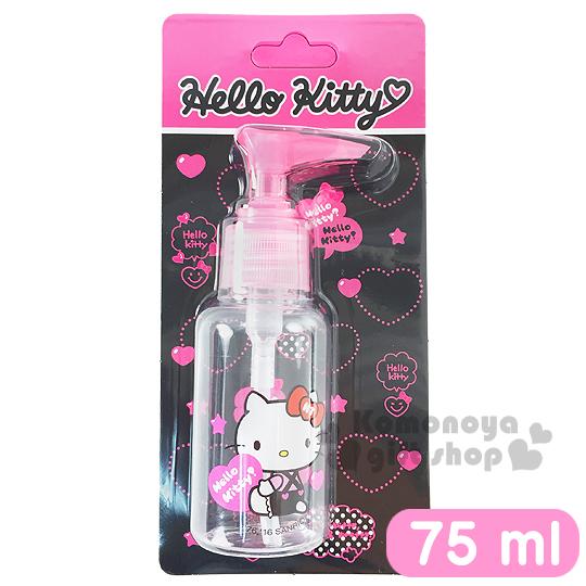 〔小禮堂〕Hello Kitty 按壓式空瓶《透明.粉.坐姿.拿愛心.吊帶褲.75ml》可自由補裝內容物