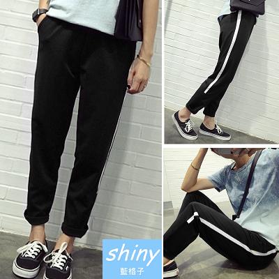 【V0192】shiny藍格子-休閒樂章.簡約鬆緊腰運動休閒長褲