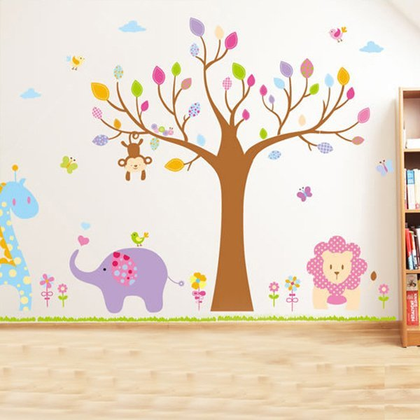 BO雜貨【YV0501】卡通動物 大樹 猴子 大象 獅子 長頸鹿 兒童房裝潢佈置 壁貼