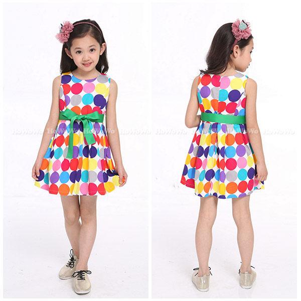 中大童短袖洋裝 大圓點亮麗連衣裙  背心裙 FM113