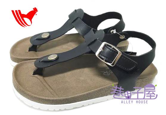 【巷子屋】ROOSTER公雞 女款經典勃肯夾腳涼拖鞋 [2338] 黑色 MIT台灣製造 超值價$198