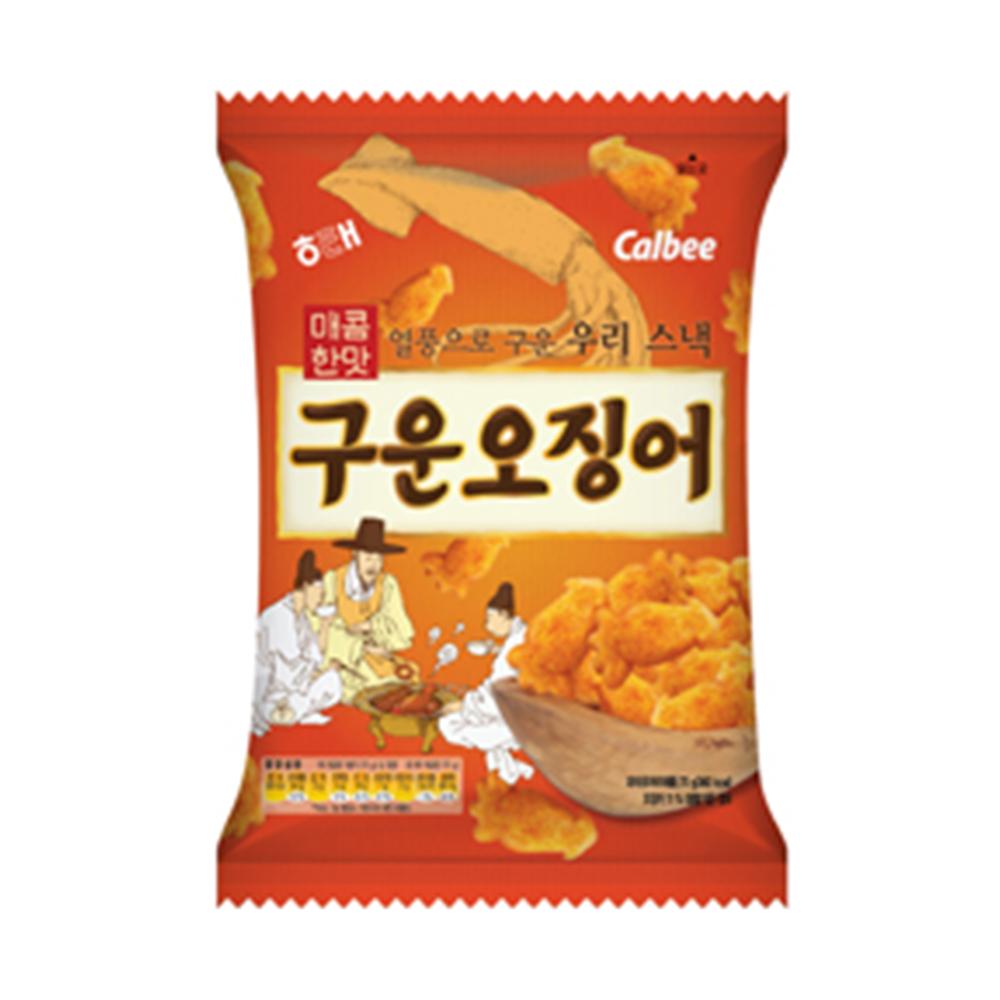 韓國進口 Calbee 海太-烘烤魷魚造型餅乾70g