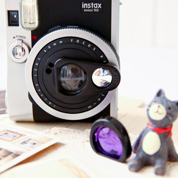 富士 Instax Mini90 Mini 90 拍立得專用 簡易型自拍鏡+濾鏡 黑色 近拍專用 套裝組 自拍必備【B029031】