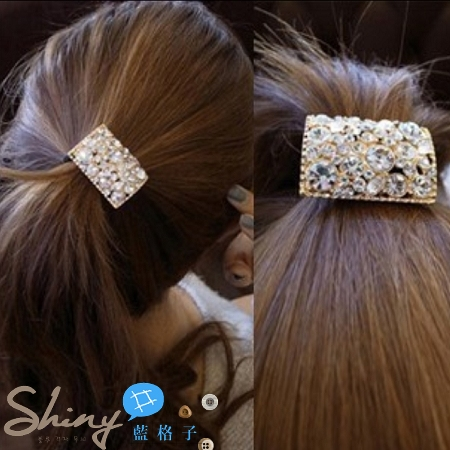 【DJB1108】shiny藍格子-水鑽鏤空頭飾髮圈