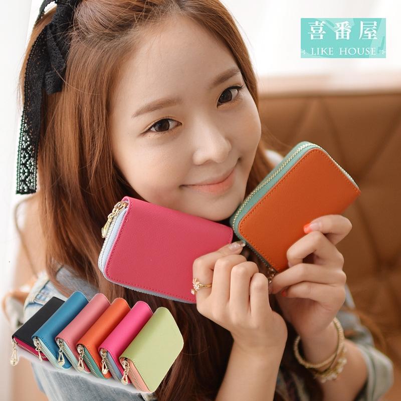 【喜番屋】日韓版真皮十字紋牛皮撞色馬卡龍拉鍊流行女包皮夾皮包錢夾零錢包卡片夾卡片包卡片套女夾禮物CB103
