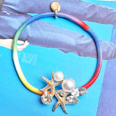 〔APM飾品〕日本Kaza 汪洋神殿皇海星石虹彩手環 / 髮圈 (淺色系) (藍色系)