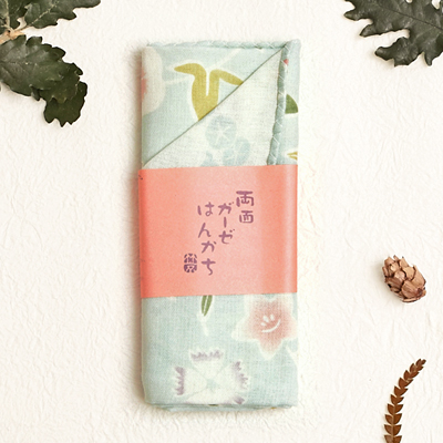 〔APM飾品〕日本Kurochiku 三層綿紗雙色風情手帕Ⅱ - 花草蓬勃