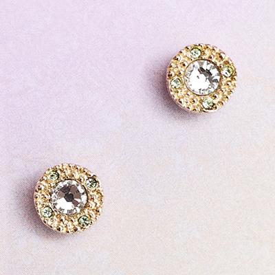 〔APM飾品〕日本Kaza 光幻奇影洛可可晶鑽耳環(磁石)