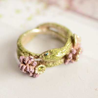 〔APM飾品〕日本Brough Superior 無限之魅花燦銜尾蛇戒指