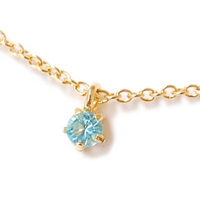 〔APM飾品〕日本Lilou 3月份誕生石色澤水晶玻璃項鍊 (海藍寶石)