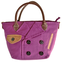 〔APM飾品〕日本 Accommode 貴族雅趣風衣領口造型手提包 (紫色) (本商品不適用於7-11門市取件)